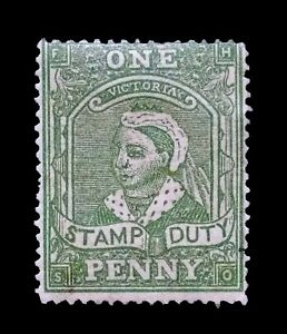 SG235b - 1884 Victoria Blue/green One Penny Stamp Duty Mint - CV $280 - 72a