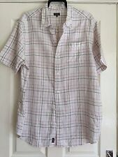 Wolsey Heavy pure linen Short Sleeved shirt size 2XL Check White, Pink Brown VGC