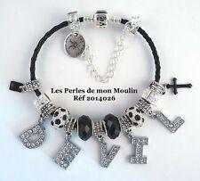 Bracelet Noir Lettres DEVIL Halloween en Strass Cordon Noir Perles / 2014026