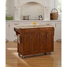 Home Styles Rolling Kitchen Island Cart w/ Wood Top Built In Storage Cabinet Oak
