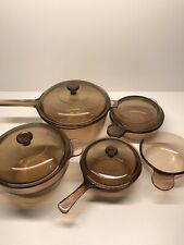 Vintage Corning Pyrex Vision Ware Amber Glass Cookware 9 pc Set Pots Pan Lids