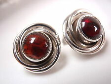 Garnet Stud Earrings Swirls 925 Sterling Silver New 3.75ct