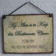Bathroom Sign My Aim Keep Clean Restroom Your Clean Decoration Toilet Vtg USA