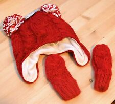 the children's place baby Unisex red Cable Knit Pom Pom fleece Hat Mittens Set