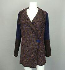 Soft Surroundings Blue Brown Nubby Chenille Cardigan Shawl Sweater Jacket Medium