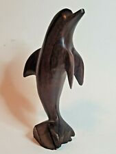 """Ironwood Dolphin Porpoise Solid Wood Hand Carved Polished Figurine 7"""" Mexico"""