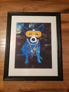 "Framed Print Of George Rodrigue ""Blue Mardi Gras Dog"" 16""x20""x1"""