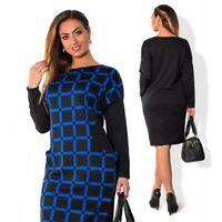 Women's Blue & Black Casual O-Neck Plaid Office Dress (2XL)