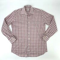 Peter Millar Plaid Button Up Shirt Mens Size M Long Sleeve Collared Cotton Blend