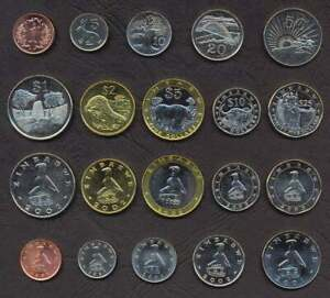 ZIMBABWE COMPLETE COIN SET 1+5+10+20+50 Cents +1+2+5+10+25 Dollars UNC LOT of 10