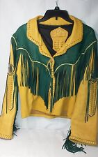 Fort Grizzly Arizona Territory RARE Tan and Green Leather Fringe Jacket!