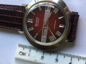Bulova N3 President Men's Automatic Watch 23 Jewels Red  Dial Day Date