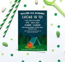 Camping themed Birthday Party Invitations *Any Age* - pack of 10 with envelopes