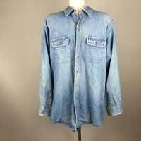 Vintage 1980s Banana Republic Denim Long Sleeve Men's Button Shirt Distressed
