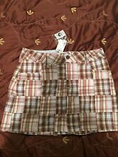 Brand New With Tag NWT Limited Too Plaid Mini Skirt Skort Size 18 Pink And Brown