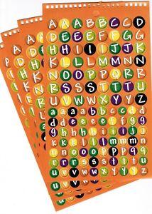 4 large Sheets Alphabet ABC Upper Lower Case Stickers! Orange Round