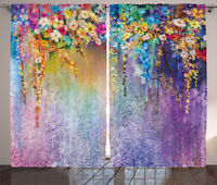 Floral Curtains Blooming Flowers Artsy Window Drapes 2 Panel Set 108x63 Inches
