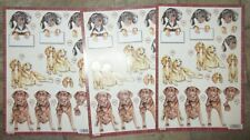 3 x 3D No Scissors Required Pre-Cut Dogs Design Decoupage A4 Sheets