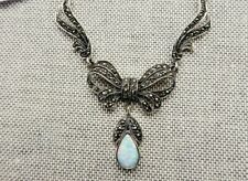 My S Collection 925 Sterling Silver, Marcasite & Opal Bridal Bow Necklace