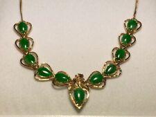 18K Yellow Gold Tear Drop Jade Necklace