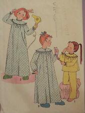 Sweet VTG 78 SIMPLICITY 8670 Girls Robe Nightgown & Pajamas PATTERN 6/25B