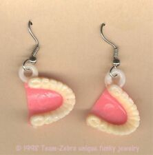 Funky FALSE TEETH EARRINGS Funny Dental Hygienist Dentist Charms Costume Jewelry