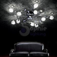 Plafoniera lampadario soffitto Ø80 design moderno cromata bracci foglie salone