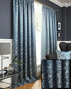 Duck Egg Blue Damask Jacquard Pair Of Tape Top Pencil Pleat Fully Lined Curtains
