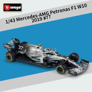 Bburago 1:43 2019 Mercedes Benz AMG Petronas F1 W10#77 Valtteri Bottas Model Car