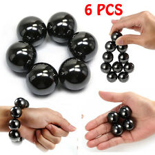 6 Pcs Hematite Magnetic Stones Polished Magnetic Balls For Scinence Intelligence