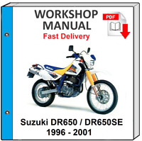 SUZUKI DR650 DR650SE 1996 1997 1998 1999 2000 2001 SERVICE REPAIR SHOP MANUAL