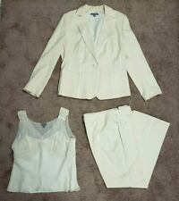 Ann Taylor Ceremony Wool 3-pc Suit  Top-Pants-Jacket Rayon accents Sz 12