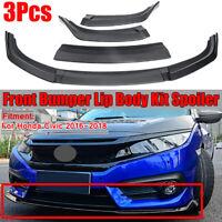 For 2016-18 Honda Civic Sedan 3pcs Matte Black Front Bumper Lip Body Kit