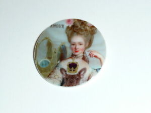 """Marie Antoinette w/ Dog  Button MOP -  Mother of Pearl Shank Button 1+3/8"""""""