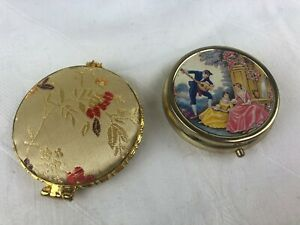 VINTAGE LOOK - COMPACT MIRROR AND PILL BOX - LOVELY DESIGNS