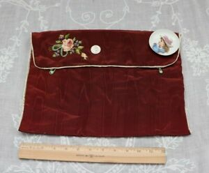 """Vintage Pink Rose & Chenille Ribbon Work On Maroon Fabric Case~14""""Square"""
