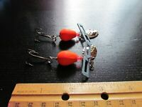 Vintage Lot of 2 Silver/Orange Wood Size 4 Fishing Bobbers Lures- Very Good