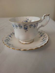 Royal Albert Memory Lane Cup and Saucer England Blue Flowers Scalloped Edges