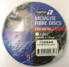 NORTON METALITE FIBRE DISCS FOR METAL P80  (PACKS OF 5) 100MM X 16MM