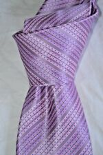 """$285 NWT STEFANO RICCI Pink w/Blue dotted stripes mens 3.5"""" woven silk tie Italy"""