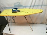 Vintage 70s Yellow Childs Metal  Ironing Board and  Steam Iron Wolverine Toy