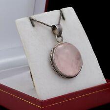 Antique Vintage Deco Sterling Silver Rose Quartz Pool of Light Pendant Necklace