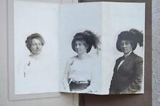 Antique 1900 Tri fold Photo Lady Feather Hat Brooch Pocket Watch Oakland CA