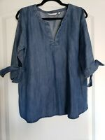 Soft Surroundings Size S Chambray Blue Cold Shoulder Top Blouse Shirt 3/4 Sleeve