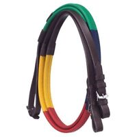 """Silver Fox Rubber Grip Colored Sections Schooling Reins - Brown 54"""""""