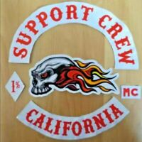 SUPPORT CREW PATCH SET MOTORCYCLE Club Biker MC EMBROIDERED IRON JACKET LEATHER