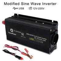 Auto 1000W/2000W Spannungswandler DC 12V auf AC 230V Inverter Wechselrichter USB