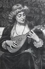 Phillott Una Toccata 1883 Girl Playing Music MANDOLIN LUTE OUD Matted Engraving