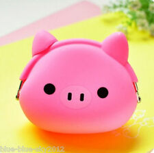 Uk PINK PIG Cute New COIN PURSE Clip Fastening Silicone Piglet Jelly Bag UK Oink