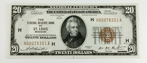 Series of 1929 National Currency St. Louis FR 1870-H Choice Uncirculated